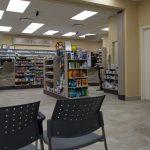 Medical centre interior, store display and prescription counter