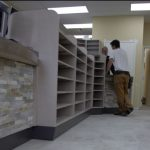 Pharmacy interior planning and construction, displaying their shelves